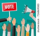 raised up hands. people vote...   Shutterstock .eps vector #726869083