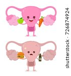 sad unhealthy sick uterus with... | Shutterstock .eps vector #726874924