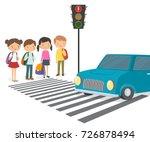 hildren wait for a green...   Shutterstock .eps vector #726878494