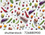 flat lay assorted uncooked... | Shutterstock . vector #726880900
