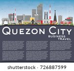 Quezon City Philippines Skyline with Gray Buildings, Blue Sky and Copy Space. Vector Illustration. Business Travel and Tourism Illustration with Modern Architecture.