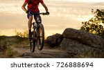 cyclist in red t shirt riding... | Shutterstock . vector #726888694
