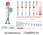 Female doctor character creation set. Full length, different views, emotions, gestures. Build your own design. Cartoon flat-style infographic illustration. Healthcare and professional medicine concept | Shutterstock vector #726889114