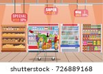 supermarket store interior with ... | Shutterstock .eps vector #726889168
