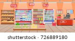 supermarket store interior with ... | Shutterstock .eps vector #726889180