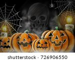 drawing halloween smiley... | Shutterstock . vector #726906550