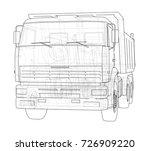 dump truck. vector rendering of ... | Shutterstock .eps vector #726909220
