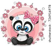 greeting card panda girl with... | Shutterstock .eps vector #726916978