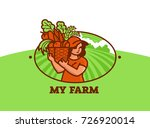 girl farmer in baseball cap... | Shutterstock .eps vector #726920014