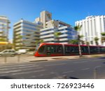 a tram moving in the streets... | Shutterstock . vector #726923446