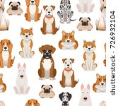different dogs in cartoon style.... | Shutterstock .eps vector #726932104