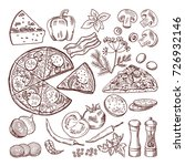 italian pizza with different...   Shutterstock .eps vector #726932146