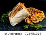 beef tacos served with golden... | Shutterstock . vector #726951319