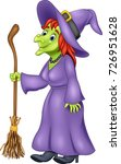cartoon witch holding broomstick | Shutterstock .eps vector #726951628