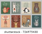 christmas animals card set ... | Shutterstock .eps vector #726975430