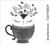 cute cat vase vector design.t... | Shutterstock .eps vector #726978829