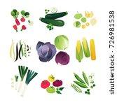 clip art vegetables set with... | Shutterstock .eps vector #726981538