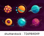 cartoon fantasy planets set.... | Shutterstock .eps vector #726984049