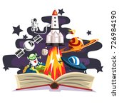 open book with rocket ... | Shutterstock .eps vector #726984190