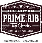 vintage roasted prime rib steak ... | Shutterstock .eps vector #726998968