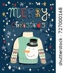 merry christmas. hand drawn... | Shutterstock .eps vector #727000168