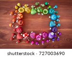 shiny christmas baubles in... | Shutterstock . vector #727003690
