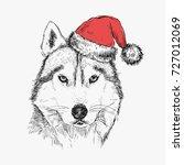 husky dog in santa claus hat.... | Shutterstock .eps vector #727012069
