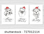 new year card. holiday dog and... | Shutterstock .eps vector #727012114