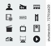 set of 12 editable cinema icons.... | Shutterstock .eps vector #727016620