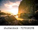 cannon beach sunset in oregon | Shutterstock . vector #727018198