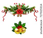 christmas decoration set with... | Shutterstock .eps vector #727025314
