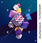 decorative colorful 3d cubes.... | Shutterstock .eps vector #727035349
