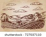 hand drawn village houses...