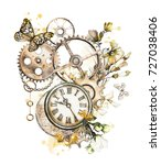 steam punk watercolor... | Shutterstock . vector #727038406
