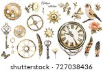 steam punk watercolor... | Shutterstock . vector #727038436