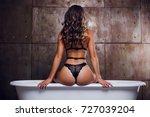 lingerie beautiful girl in... | Shutterstock . vector #727039204