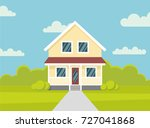 traditional house. family home. ... | Shutterstock .eps vector #727041868