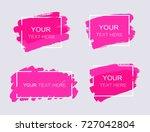 grunge set of pink paint  ink... | Shutterstock .eps vector #727042804