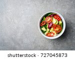 fresh vegetables salad. top view | Shutterstock . vector #727045873