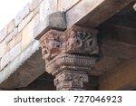 disfigured hindu carvings on... | Shutterstock . vector #727046923