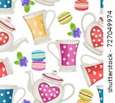 seamless pattern with cute... | Shutterstock .eps vector #727049974