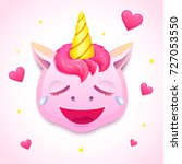 emoji cute pink unicorn  face... | Shutterstock .eps vector #727053550