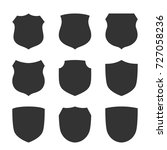 shield shape icons set. black... | Shutterstock .eps vector #727058236