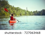 summer trip on the river on... | Shutterstock . vector #727063468