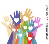 colorful hands up with hearts... | Shutterstock .eps vector #727064014