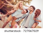 group of friends having fun on... | Shutterstock . vector #727067029