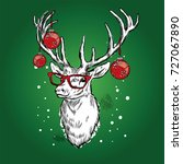 beautiful deer with christmas... | Shutterstock .eps vector #727067890