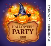 halloween party poster with... | Shutterstock .eps vector #727070623