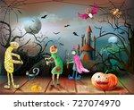 halloween night on the...   Shutterstock .eps vector #727074970