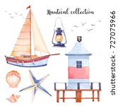 watercolor nautical set. hand... | Shutterstock . vector #727075966